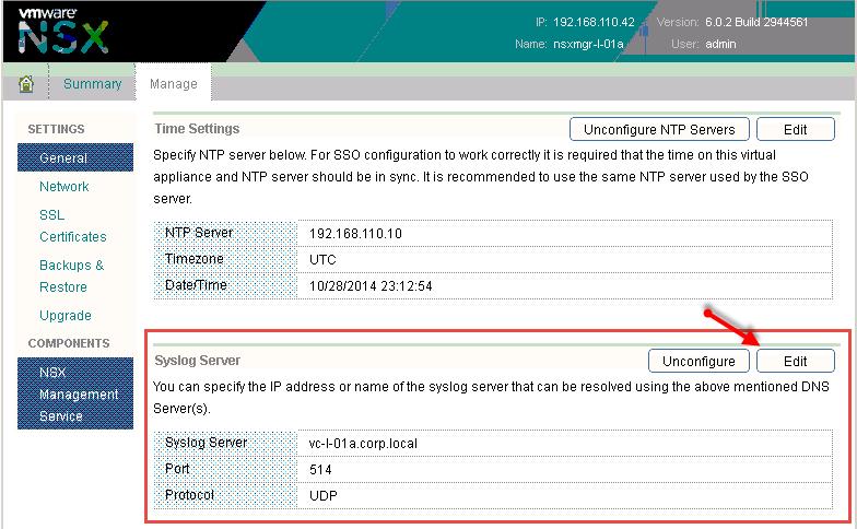 VMware KB: Configuring syslog server for VMware NSX for vSphere 6 x